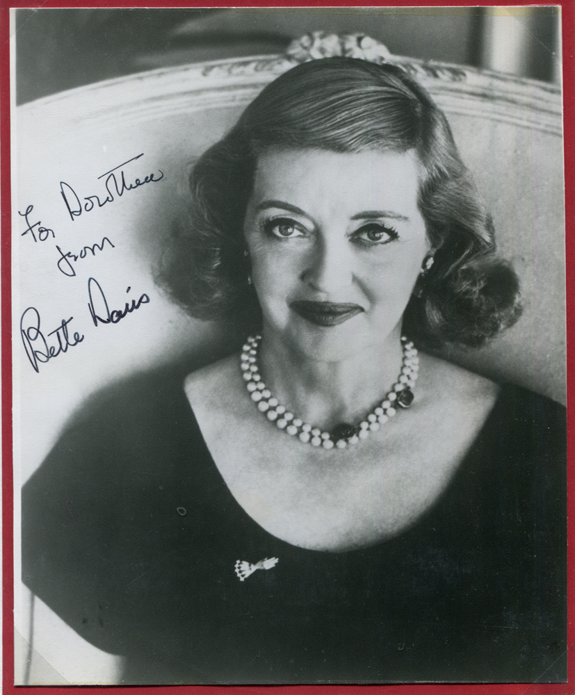 DAVIS, BETTE 1908-89 (American actress) black & white photograph dedicated & signed 'Bette Davis'