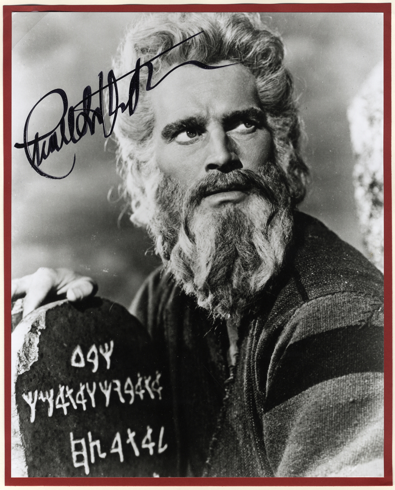 HESTON, CHARLTON 1923-2008 (American actor) black & white signed photograph of Charlton as Moses in the film 'The Ten Commandments'