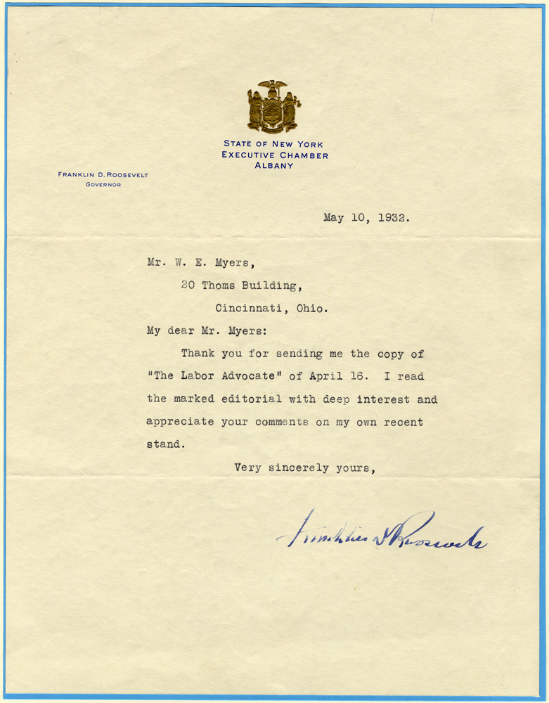 ROOSEVELT, FRANKLIN D 1882-1945 (American President 1933-45) typed letter on gold embossed stationery singed Franklin D. Roosevelt