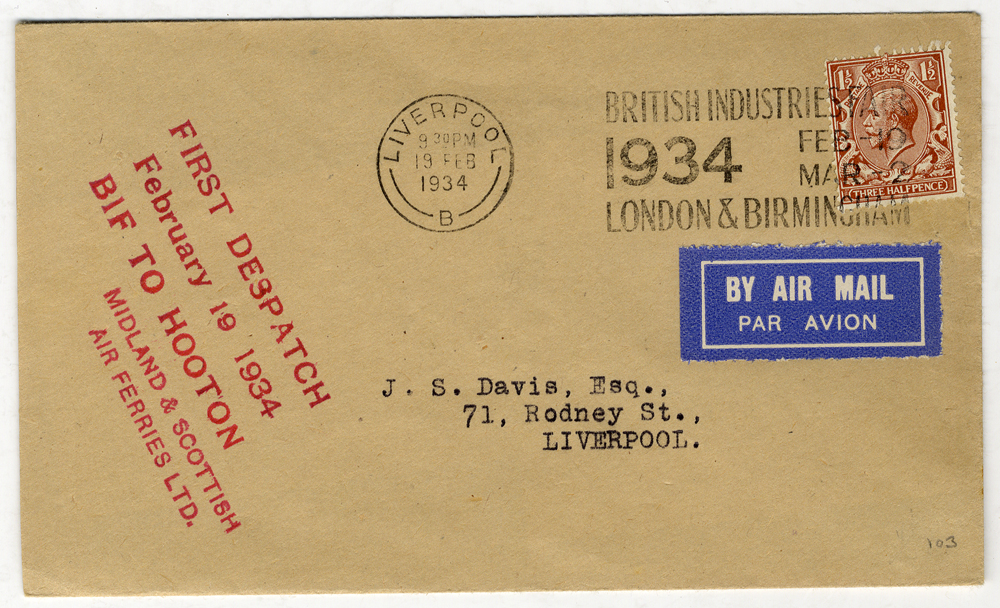 1932 Feb 19th Midland & Scottish Air Services first flight cover Birmingham - Liverpool