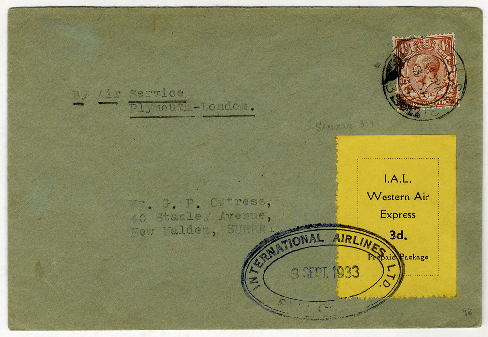 1933 Sept 3rd I.A.L flight cover Croydon/Plymouth