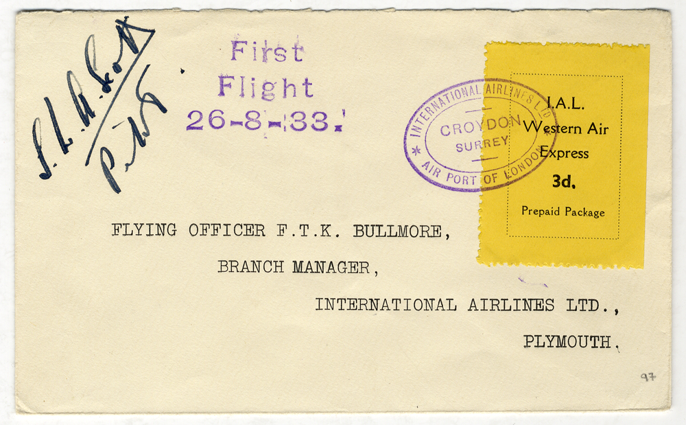 1933 Aug 26th I.A.L flight cover Croydon - Plymouth