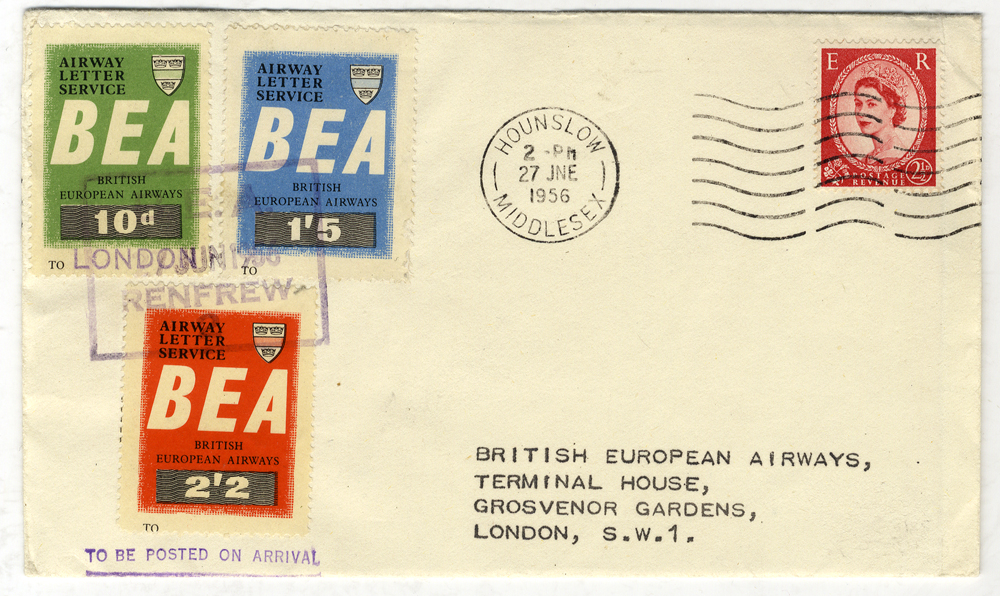 1956 B.E.A Airway Letter Service official cover Glasgow - London
