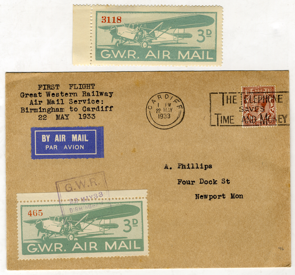 1933 May 22nd G.W.R first flight cover Birmingham - Cardiff