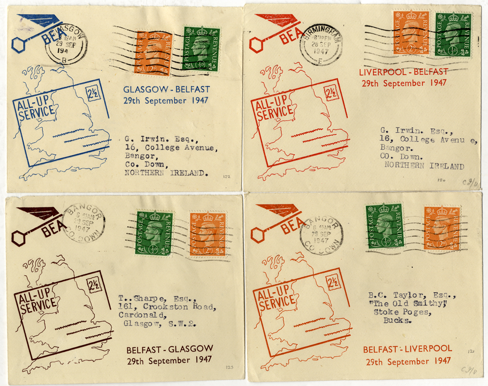 1947 Sep 28th/29th B.E.A - all up first flight illustrated covers x4