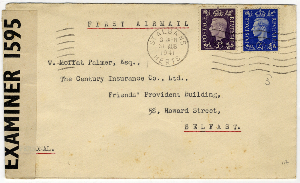 1941 Sep 1st Railway Air Service first wartime flight scarce censored commercial cover
