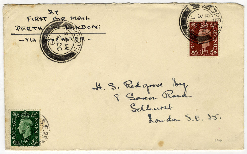 1938 Oct 3rd North Eastern Airways first flight Perth - London cover
