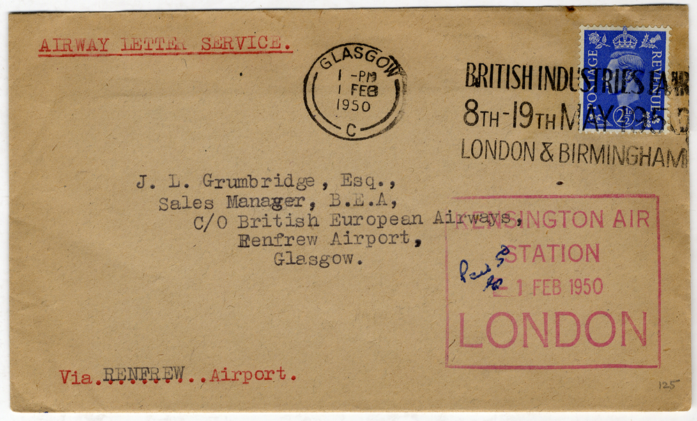 1950 Feb 1st B.E.A Airway Letter Service official cacheted cover