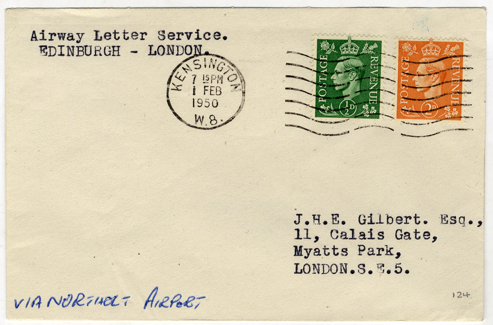 1950 Feb 1st B.E.A Letter Service first flight Edinburgh - London cover