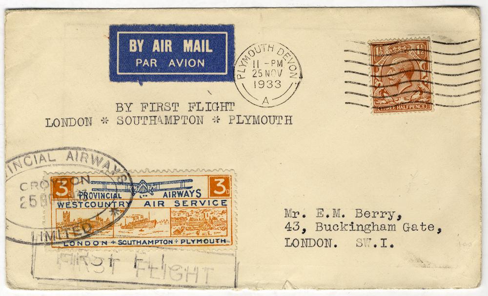 1933 Nov 25th Provincial Airways first flight Croydon - Plymouth cover