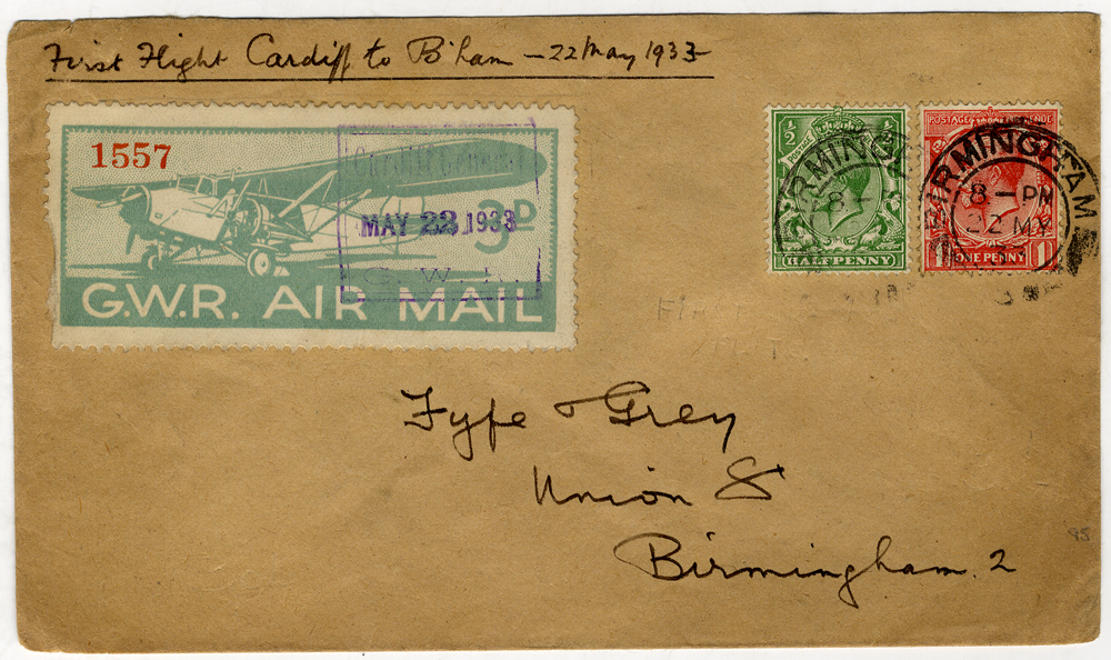 1933 May 22nd G.W.R first flight Cardiff - Birmingham cover