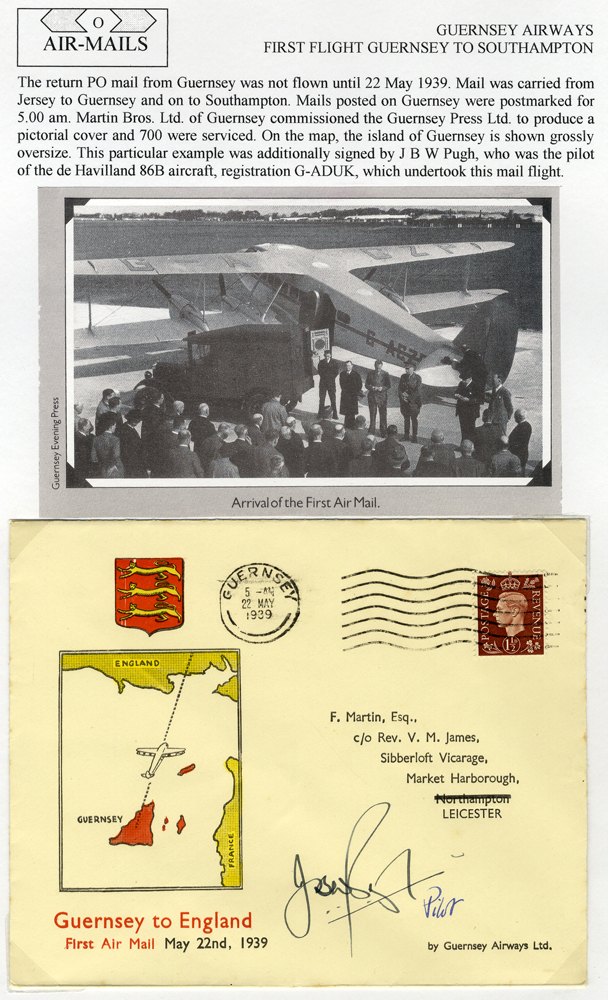 1939 Guernsey Airways first flight Guernsey - Southampton illustrated flown cover