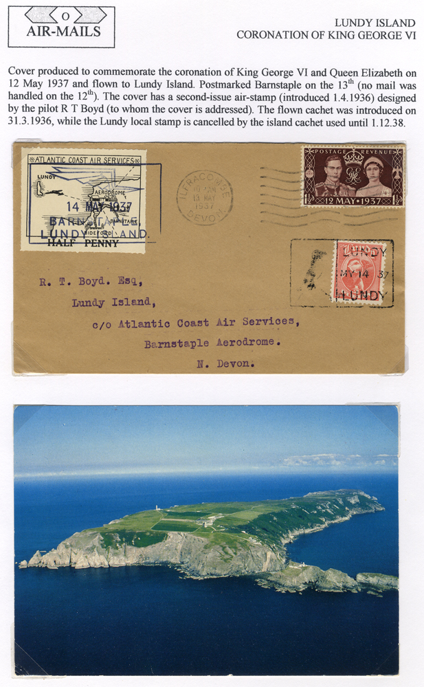 1937 May 14th Atlantic Coast Air Service flight Barnstaple - Lundy Island Coronation FDC