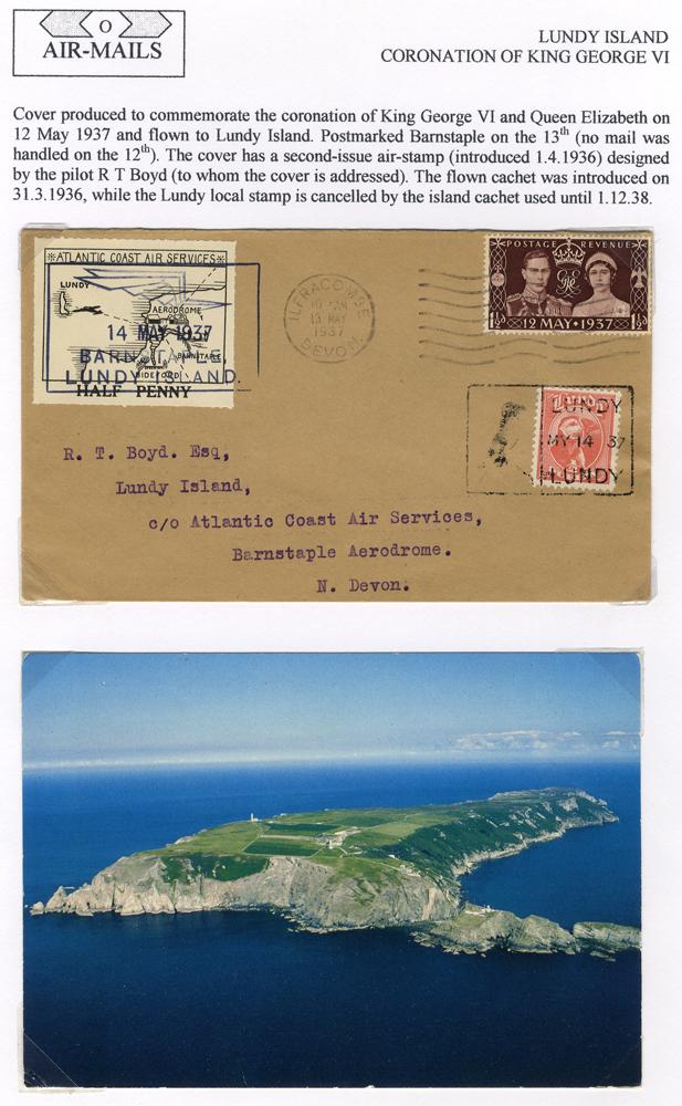1937 May 14th Atlantic Coast Air Service flight Barnstaple - Lundy Island Coronation FDC