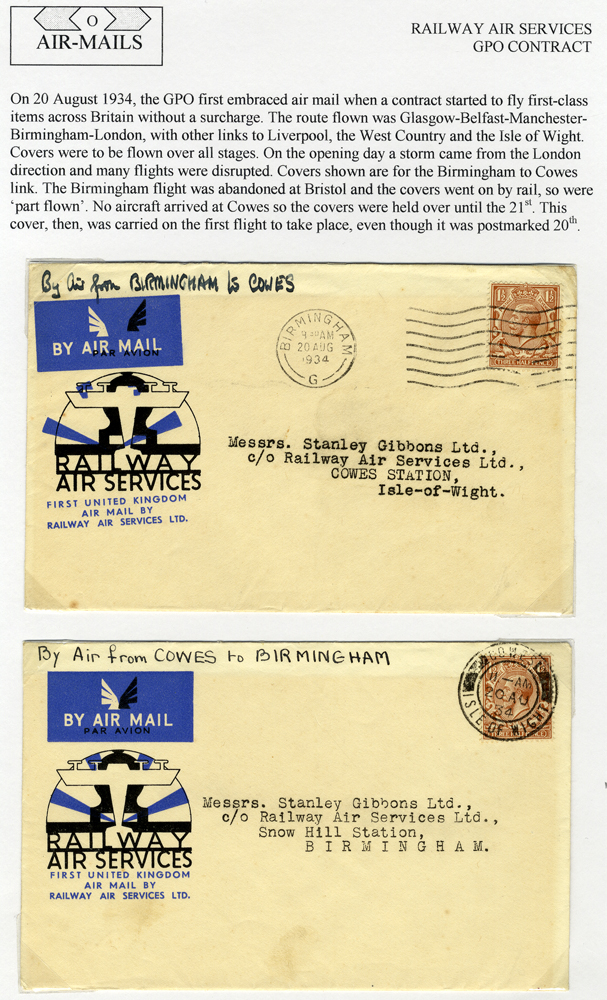 1934 Railway Air Service - two first flight covers Birmingham - Cowes
