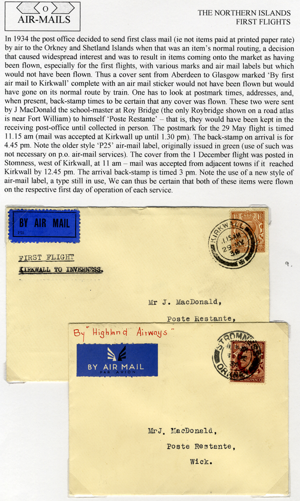 1934 Highland Airways - two first flight covers