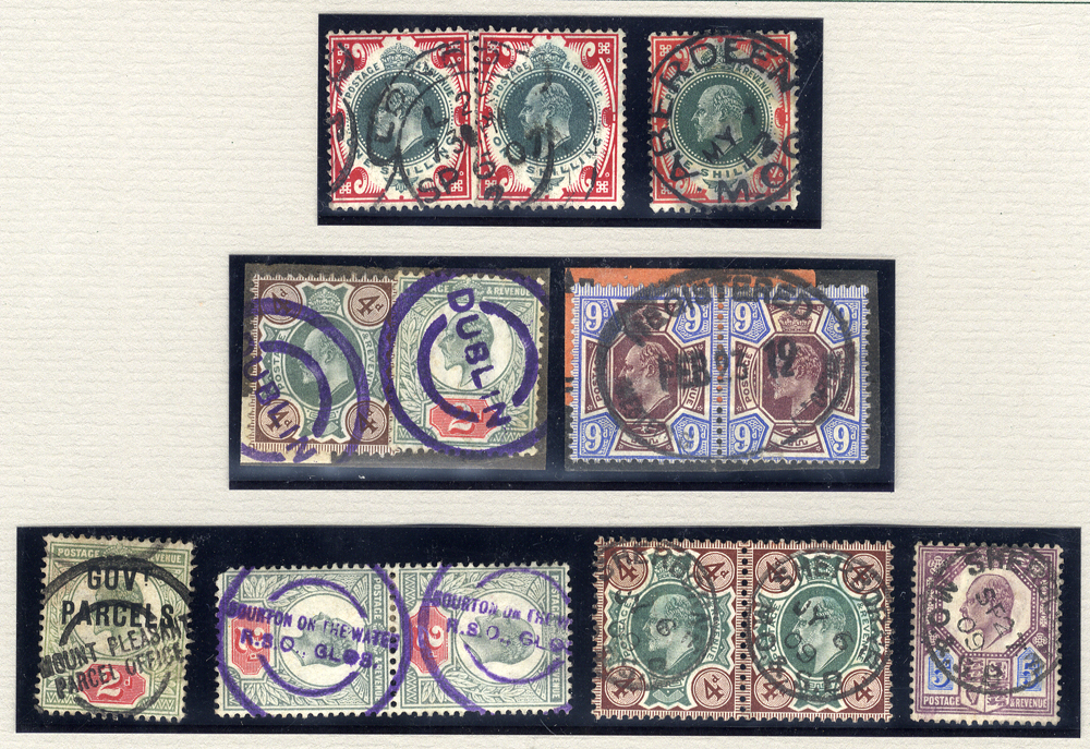 KEVII delightful group of eight items cancelled by a range of scarce/unusual hand stamps