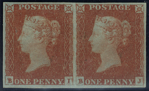 1841 1d red Plate 85 BI/BJ - M horizontal pair