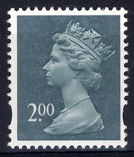 2003 £2 deep blue green, UM example with missing '£' error.
