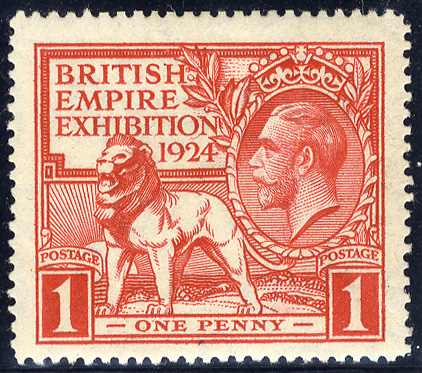 1924 Wembley 1d scarlet - variety tail to 'N' of EXHIBITION