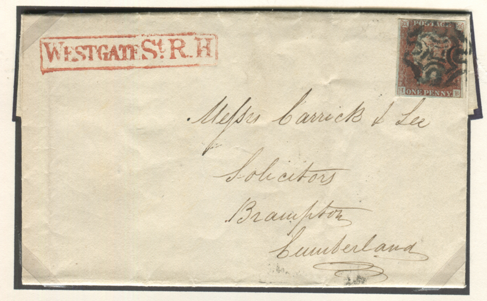 1841 June 2nd cover - Newcastle upon Tyne to Brampton, Cumberland, franked 1841 1d Pl.5 State II