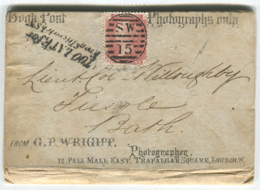 1865 BOOK POST/PHOTOGRAPHS ONLY printed card, franked 1d red Plate 85