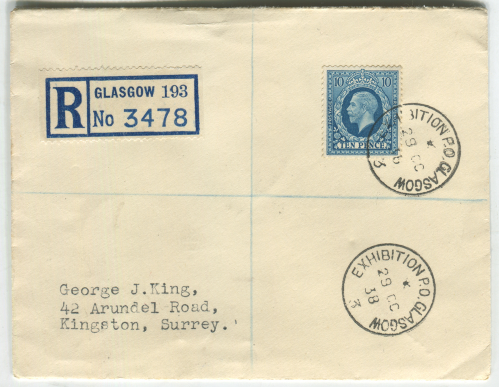 1938 Empire Exhibition Glasgow reg envelope from Glasgow to Kingston, Surrey, franked 10d photogravure