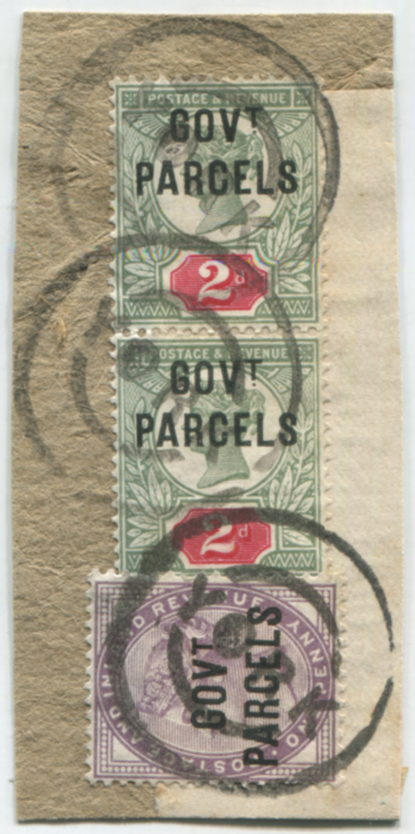 GOVT PARCELS 1891 piece, franked - 1d lilac & pair 2d grey-green & carmine