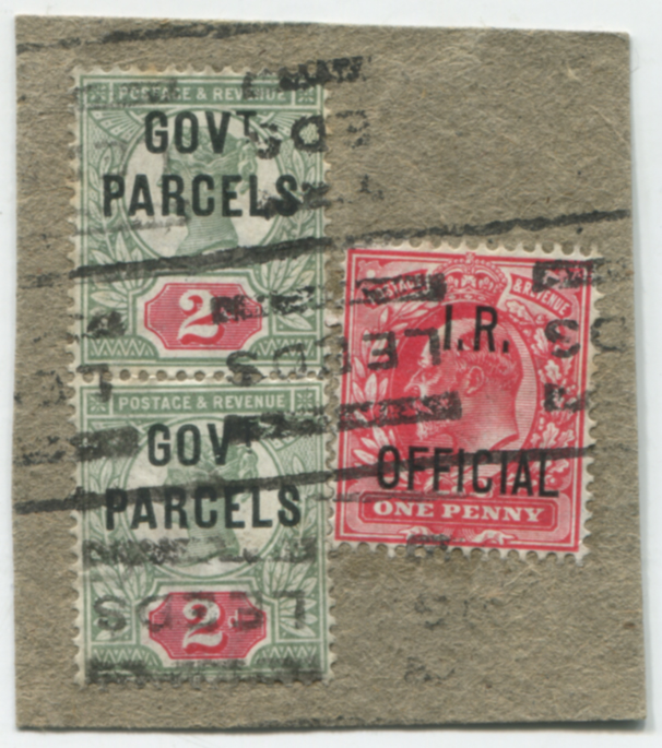 GOVT PARCELS 1891 piece, franked - pair 2d grey-green & carmine & I.R OFFICIAL 1d scarlet