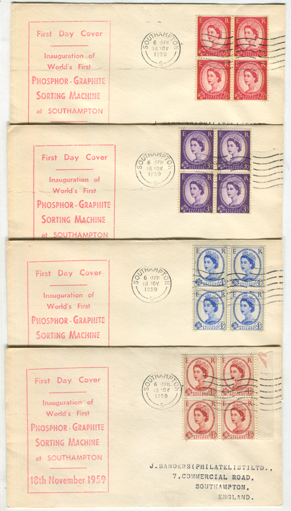 1959 Phosphor Graphite set in blocks of four on eight display FDC's