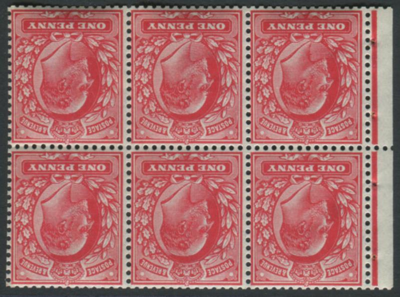 1902 DLR 1d scarlet booklet pane - WMK INVERTED