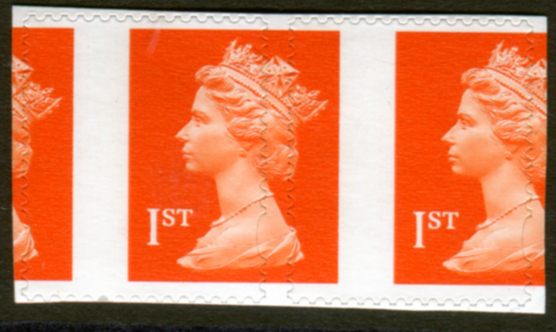 1998-2000 1st Class orange self-adhesive - dramatic perforation shift