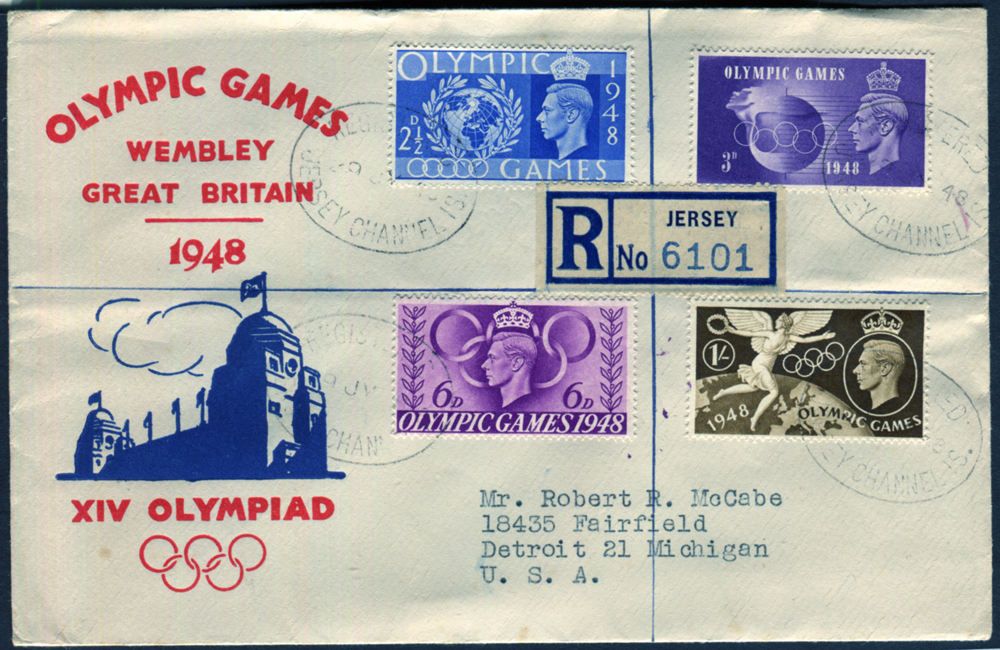 1948 Olympic Games illustrated FDC, Jersey to Detroit, USA
