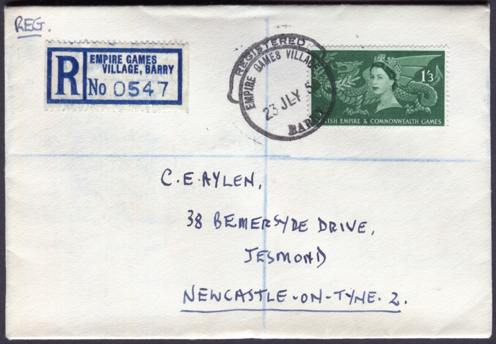 1958 registered cover from The Empire Games Village, Barry to Newcastle upon Tyne