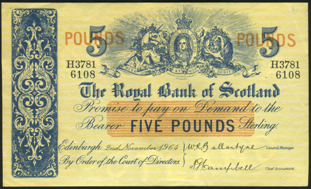 Royal Bank of Scotland 1964 £5 Ballantyne/Campbell