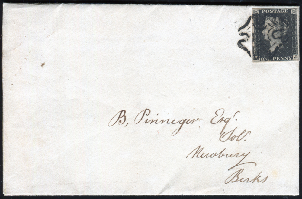 1841 entire from London to Newbury, franked Plate 10 AJ