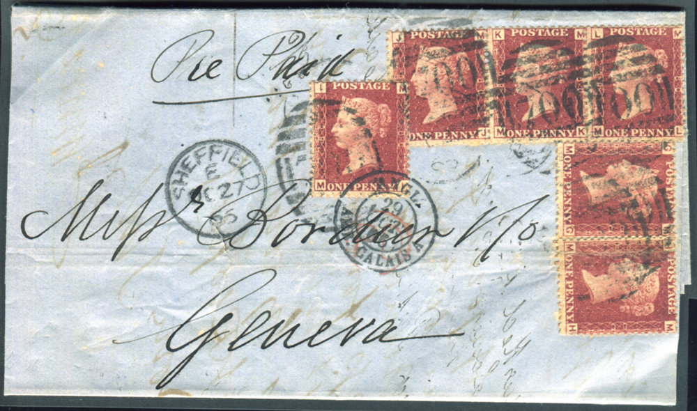 1866 cover from Sheffield to Geneva, superb letter head within for James Dixon & Sons - unusual 6d franking