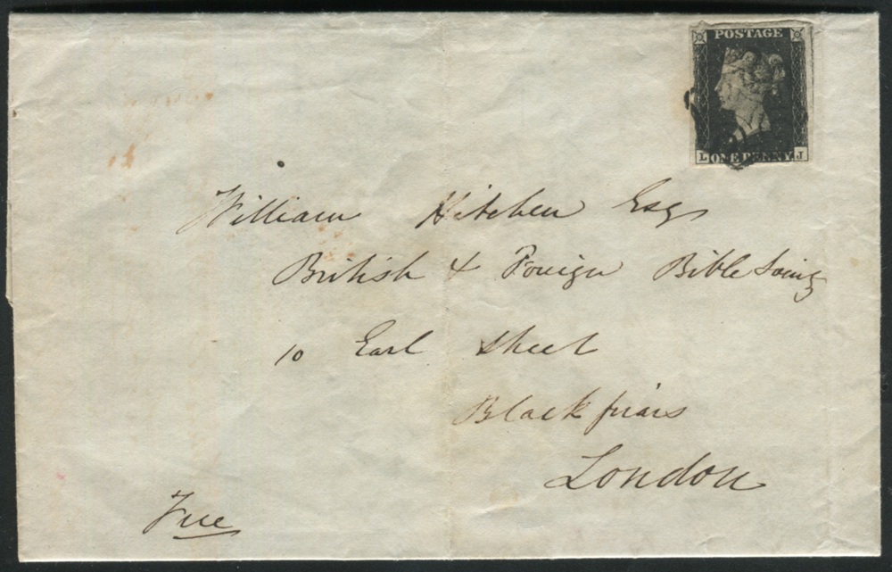 1841 Feb 23rd cover from Crickhowell to Blackfriars, London, franked Pl.10 LJ