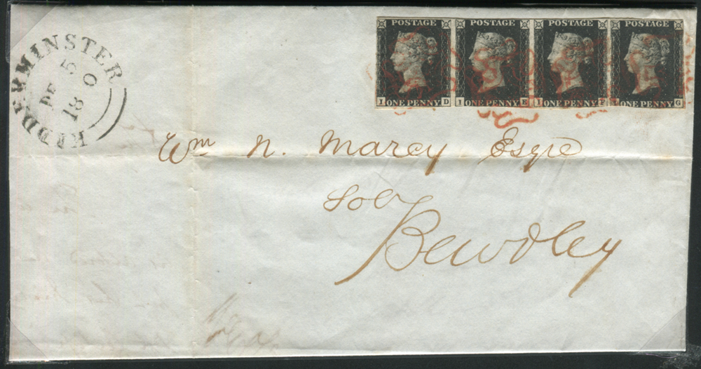 1840 Dec 5th cover from Kidderminster to Bewdley, franked Pl.5 ID/IG strip of four