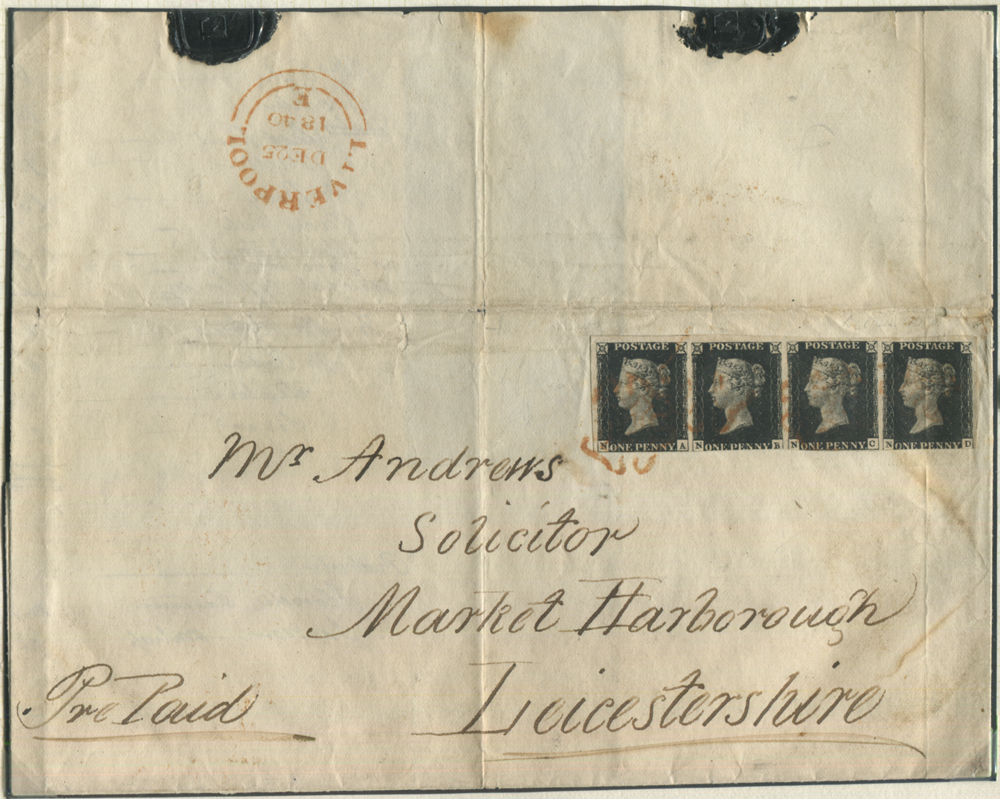 1840 Dec 25th cover from Liverpool to Market Harborough, franked PL.5 NA/ND strip of four