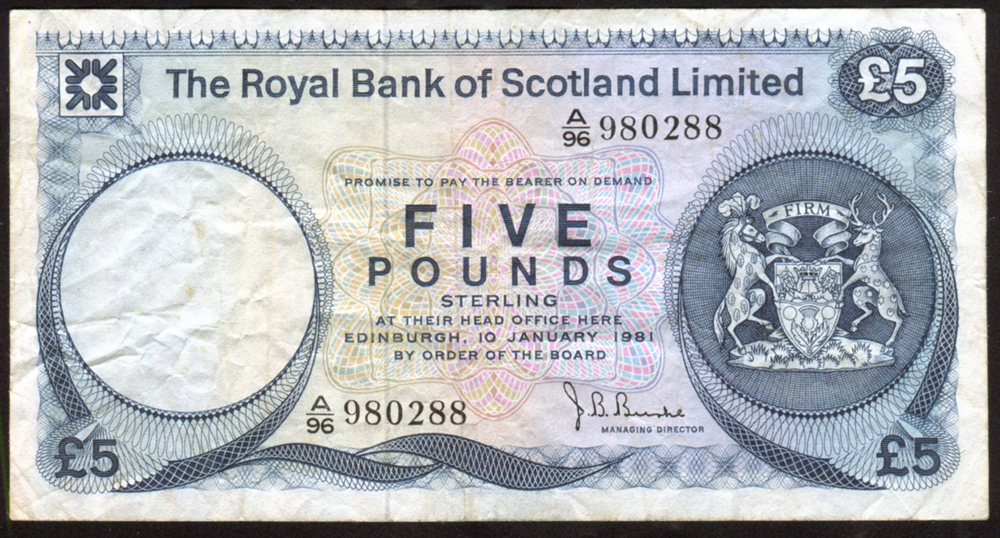 Royal Bank of Scotland £5 Burke
