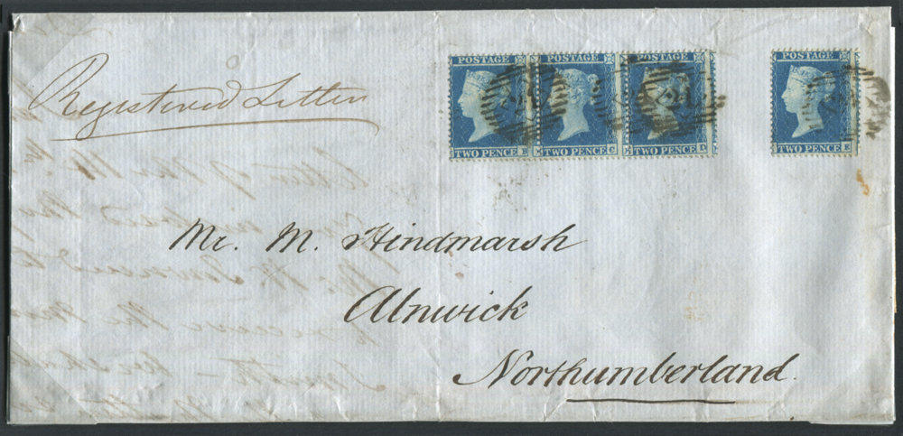 1855 registered cover London to Alnwick, franked 2d Pl.4 Small Crown P.16 Wmk Inverted
