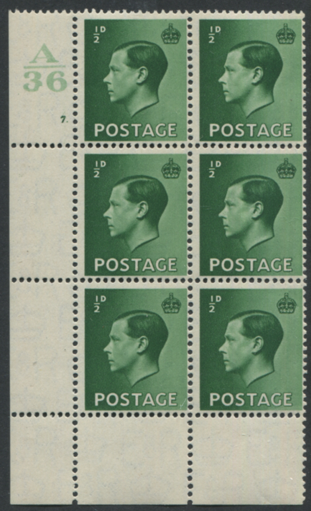 1936 ½d green Control A36, Cylinder 7 Dot, Perf Type 2A (P/P) block of six