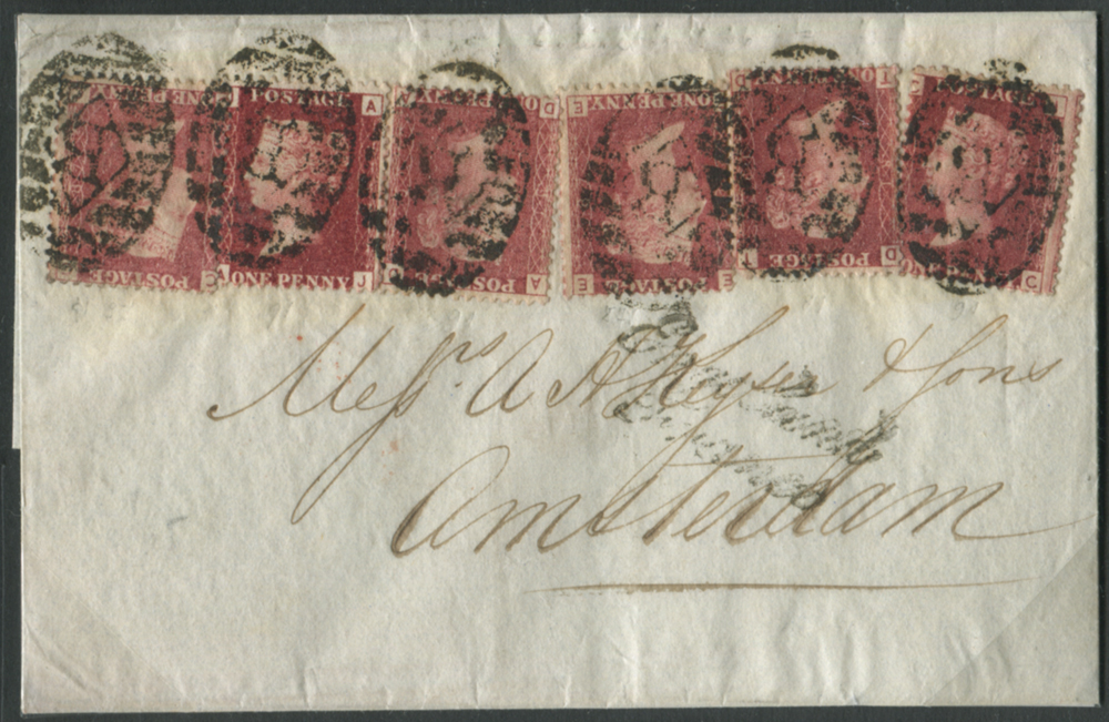 1866 cover from London to Amsterdam 6d rate (unusual franking)