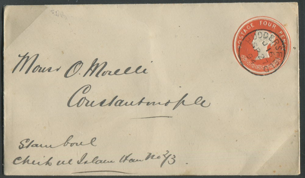 1894 S.T.O 4d envelope from Huddersfield to Constantinople
