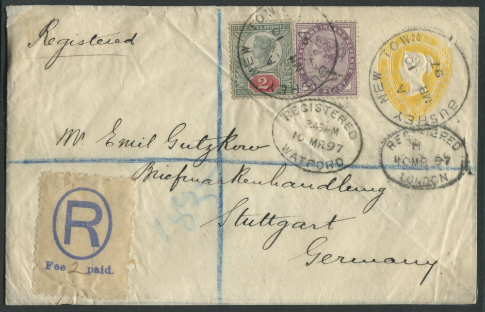 1897 fine 1½d registered envelope to Stuttgart, Germany