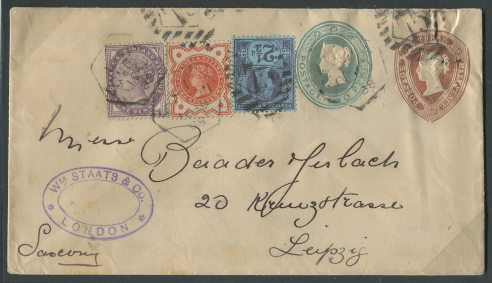 1888 S.T.O ½d + 2d envelope uprated with ½d, 1d, 2½d (unusual 7½d triple rate)