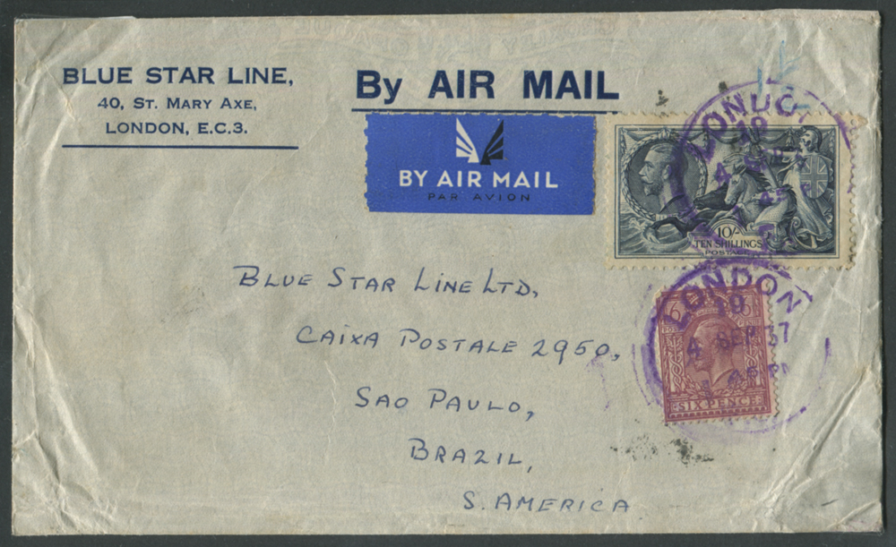 1937 Blue Star Line airmail cover to Sao Paulo, Brazil