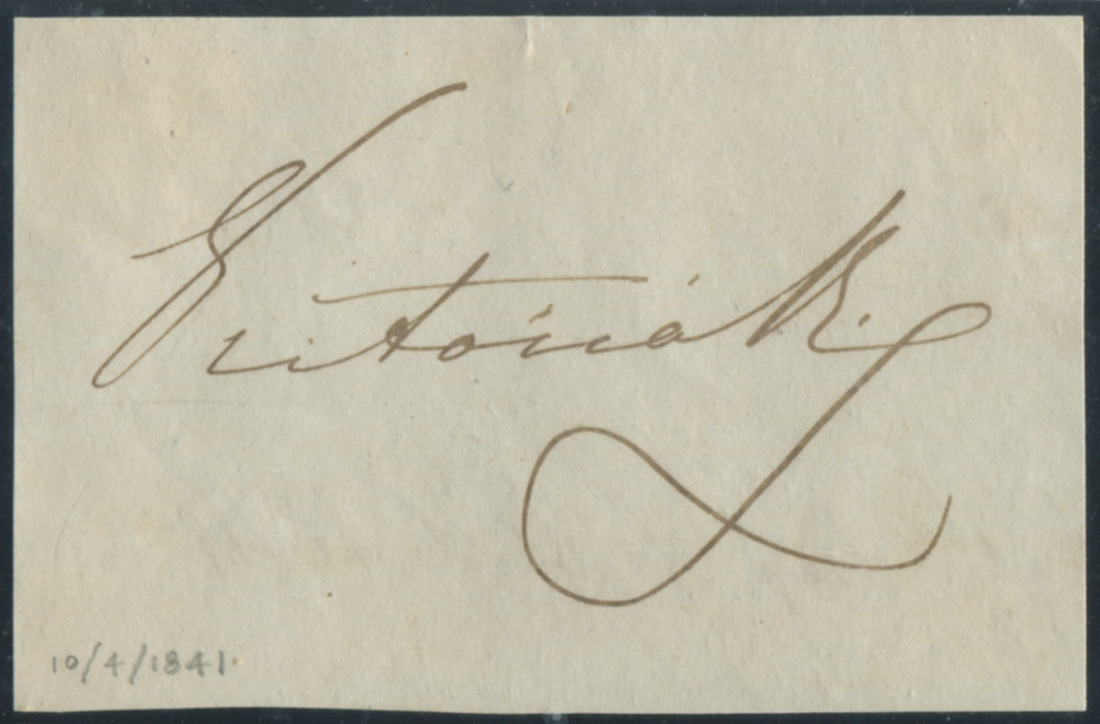 QUEEN VICTORIA  signature on piece