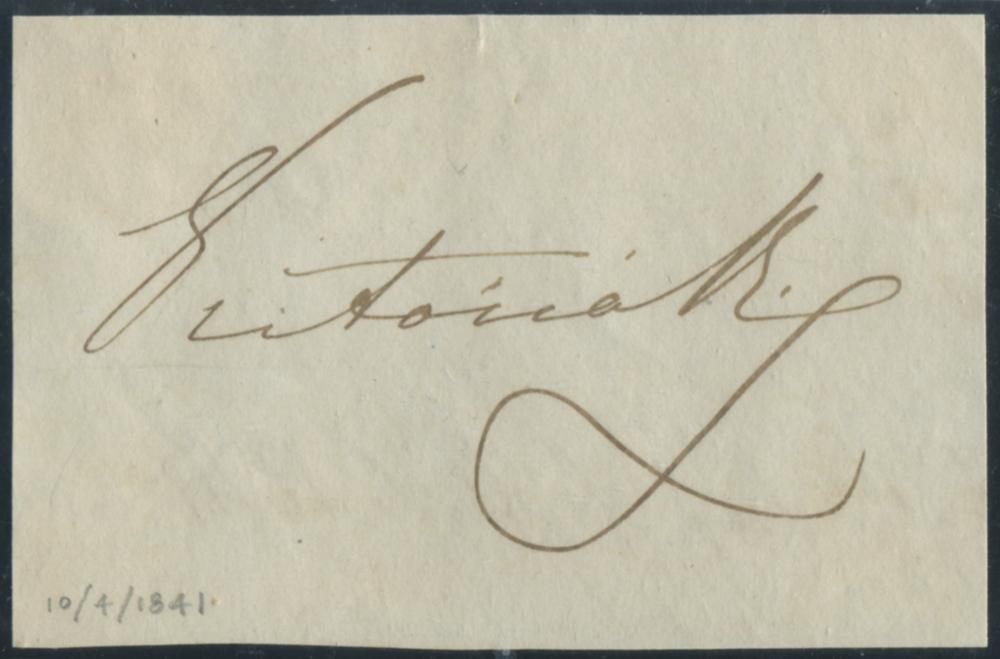 QUEEN VICTORIA  signature on piece